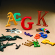 Samples of molded plastic letters